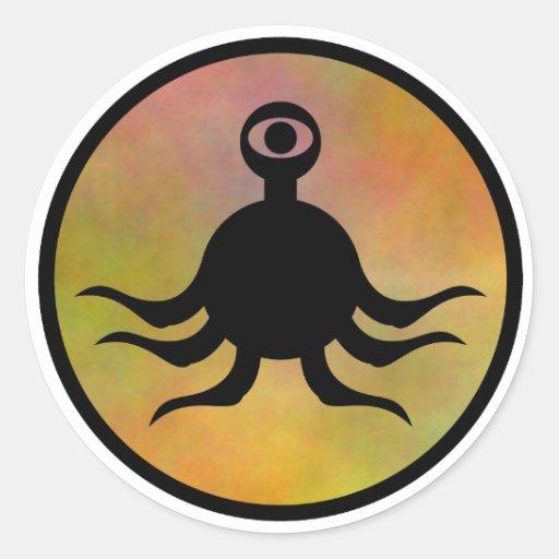 Peligro del monstruo del tentáculo pegatina redonda