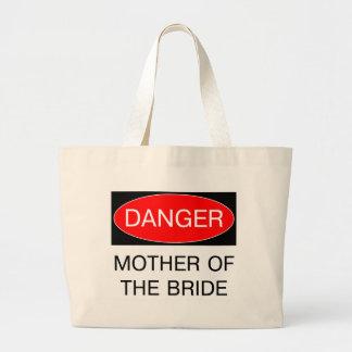 Peligro - madre de la camiseta divertida del boda  bolsa tela grande