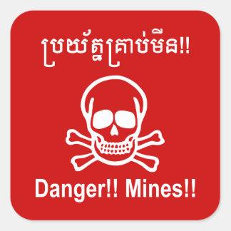 ¡Peligro!! ¡Minas!! ☠ camboyano de la muestra del Calcomania Cuadradas