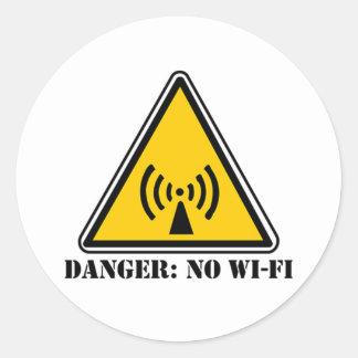 Peligro ninguna muestra de Wi-Fi Pegatina Redonda
