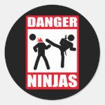 Peligro Ninjas Pegatina Redonda