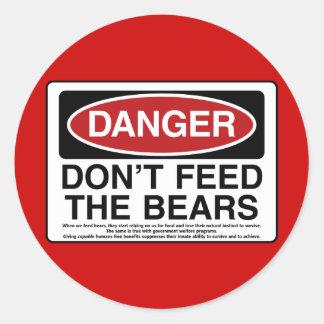 PELIGRO: No alimente los osos Pegatina Redonda