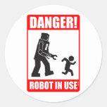 ¡Peligro! Pegatina funcionando del robot
