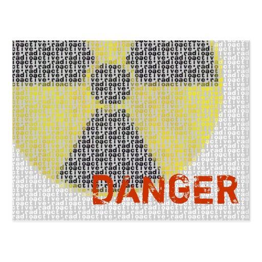 ¡Peligro! Postal radiactiva del símbolo de los sal