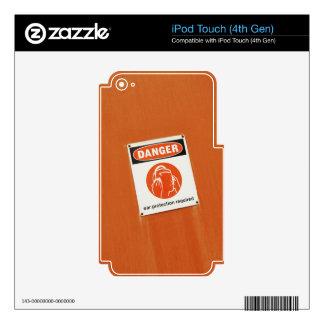 ¡Peligro! Protección auditiva requerida iPod Touch 4G Calcomanías