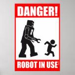¡Peligro! Robot funcionando Póster