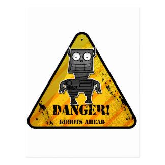 ¡Peligro! Robots a continuación Tarjeta Postal