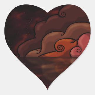 Peligro rojo pegatina en forma de corazón