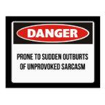 Peligro - sarcasmo no provocado postal