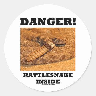 ¡Peligro! Serpiente de cascabel dentro Etiquetas