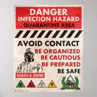 ¡Peligro! Zona de peligro de la infección Poster