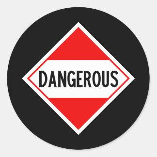 peligroso pegatina redonda