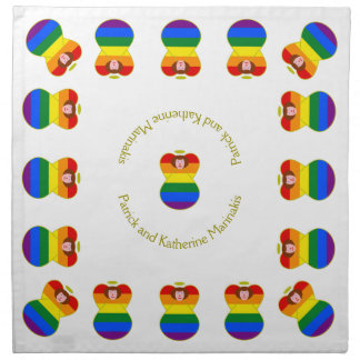Pelo castaño de la bandera del arco iris del ángel servilleta imprimida