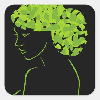 Pelo con las hojas pegatina cuadrada