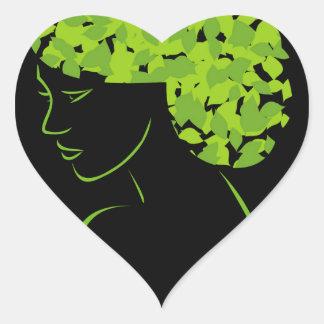 Pelo con las hojas pegatina en forma de corazón