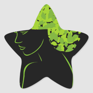 Pelo con las hojas pegatina en forma de estrella