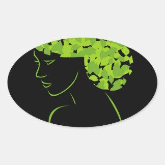Pelo con las hojas pegatina ovalada