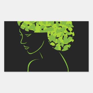 Pelo con las hojas pegatina rectangular