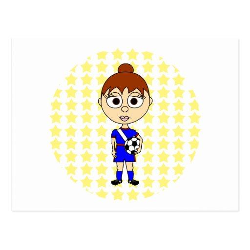 Pelo de Brown de la estrella de fútbol de la niña Postales