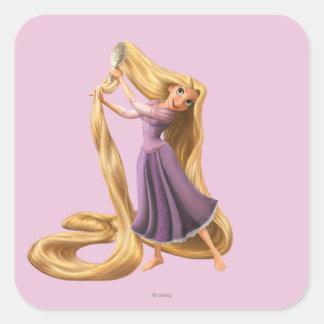 Pelo de cepillado 2 de Rapunzel Pegatina Cuadrada