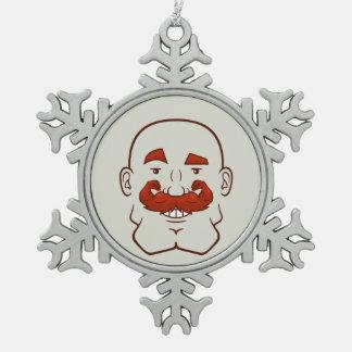 Pelo de Strongstache (calvo, rojo) Adorno De Peltre En Forma De Copo De Nieve