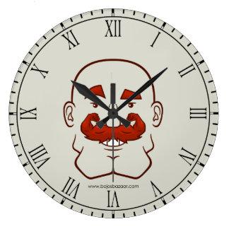 Pelo de Strongstache (calvo, rojo) Reloj Redondo Grande