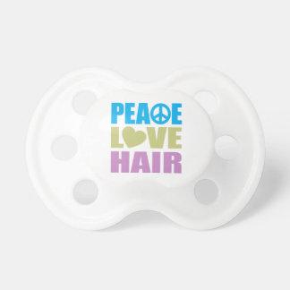 Pelo del amor de la paz chupete de bebe