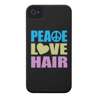 Pelo del amor de la paz iPhone 4 protectores