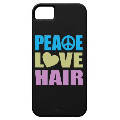 Pelo del amor de la paz iPhone 5 carcasas
