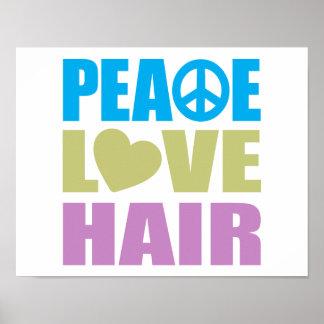 Pelo del amor de la paz impresiones