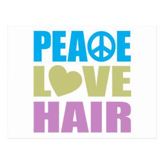 Pelo del amor de la paz postales
