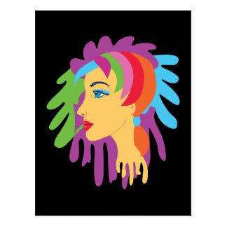 Pelo del arco iris tarjeta postal