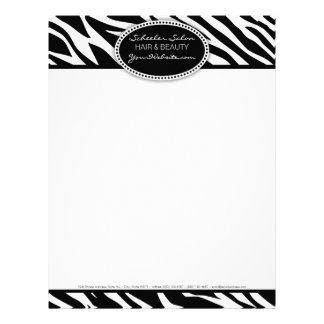 Pelo del estampado de zebra y papel con membrete d membrete a diseño