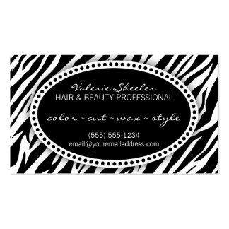Pelo del estampado de zebra y tarjeta de la cita d tarjeta personal
