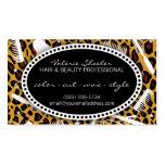 Pelo del estampado leopardo y cita de la belleza tarjeta de visita