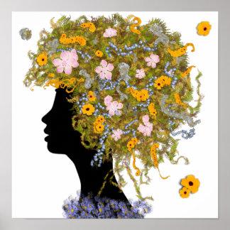 Pelo del flower power póster