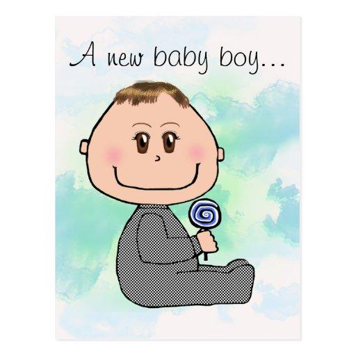 Pelo del marrón del muchacho de bebé y diseño de l tarjeta postal