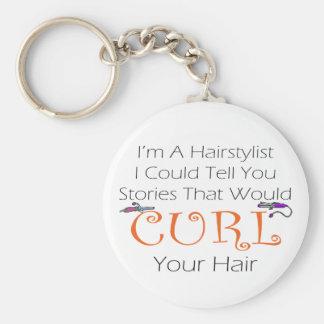 Pelo del rizo del Hairstylist Llavero Redondo Tipo Pin