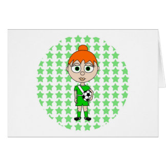 Pelo del rojo del verde de la estrella de fútbol d tarjeta de felicitación