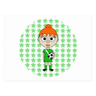 Pelo del rojo del verde de la estrella de fútbol d tarjetas postales