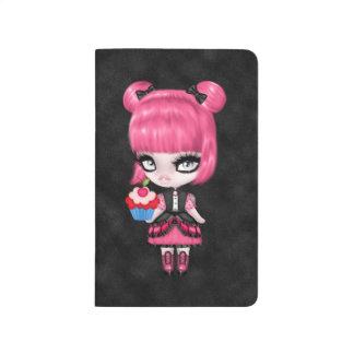 Pelo femenino gótico de la muñeca w/Pink del Cuadernos