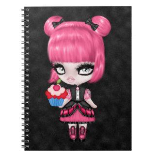 Pelo femenino gótico de la muñeca w/Pink del Libros De Apuntes Con Espiral