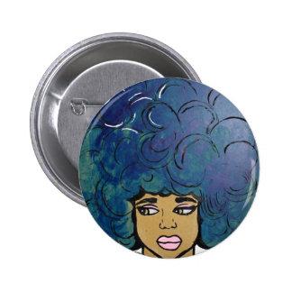 Pelo grande del Afro del chica azul del ébano Pin Redondo De 2 Pulgadas