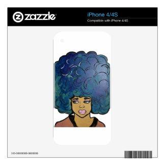 Pelo grande del Afro del chica azul del ébano Skins Para eliPhone 4S
