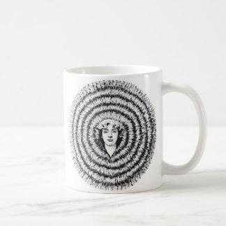 Pelo grande retro de la ilusión óptica del kitsch  taza básica blanca