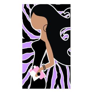 pelo largo de la cebra púrpura del fashionista tarjetas de visita