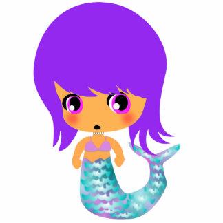 pelo mágico de la púrpura de la sirena del chibi fotoescultura vertical
