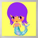 pelo mágico de la púrpura de la sirena del chibi posters