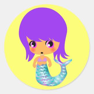 pelo mágico de la púrpura de la sirena del chibi pegatina redonda