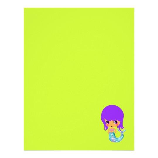 pelo mágico de la púrpura de la sirena del chibi plantillas de membrete